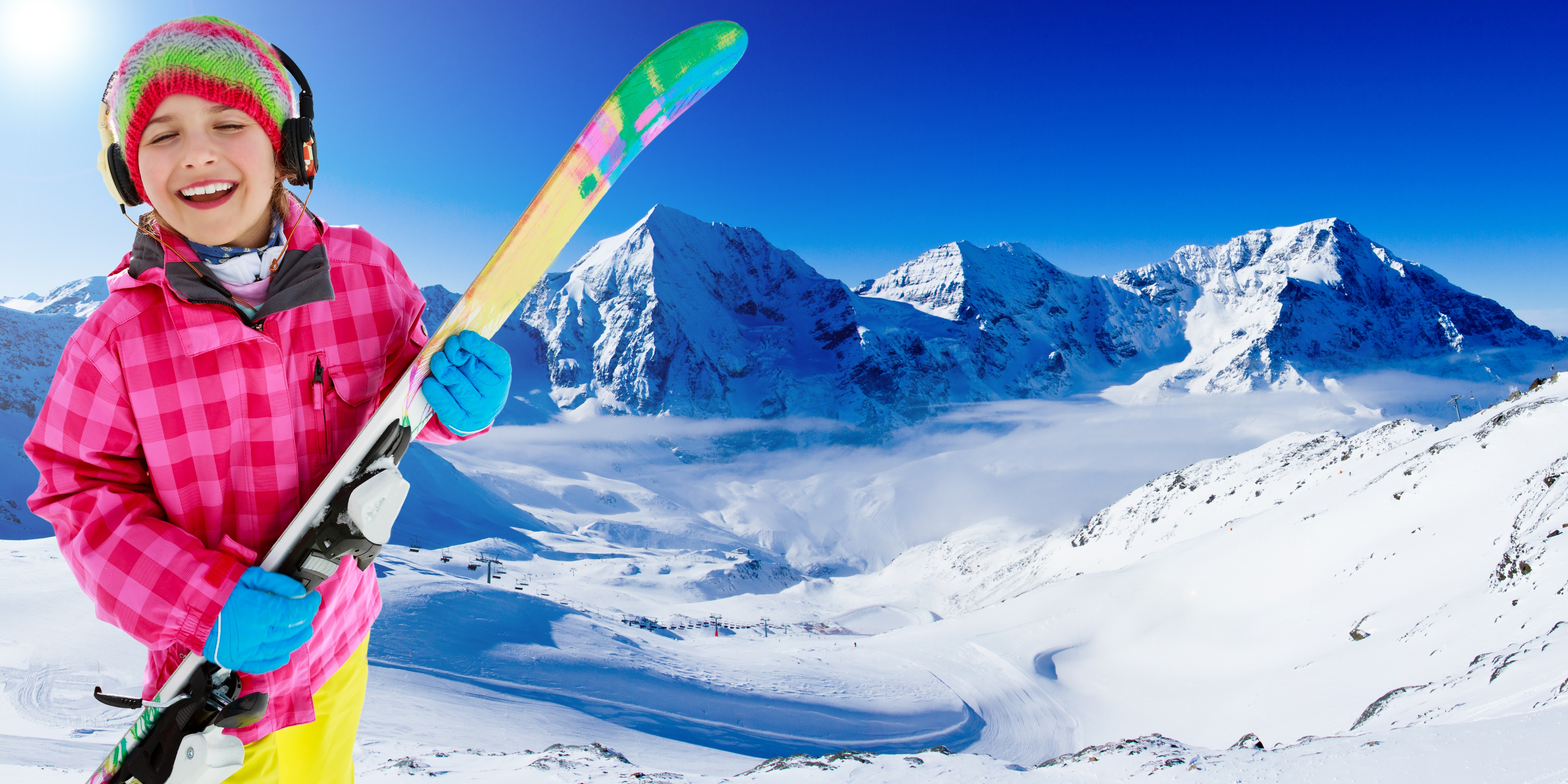 Big ski  skier  winter   lovely girl has a fun on ski