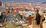 Small high view of plaza espanya barcelona spain