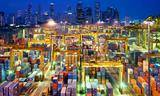 Small night view of the port of singapore